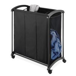 Sleek black hamper with wheels. Convenient handles on each end of the cart facilitates easy movement.
