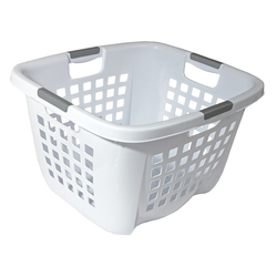 This laundry basket has 4 integrated handles on each side. It has a square slot design to allow air flow through the clothes. Capacity 74 L.