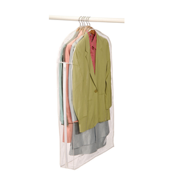 Constructed of clear vinyl allowing easy identification of contents. A long zipper along side of storage bag provides easy access to suits. An opening on top of bag makes easy hanging.