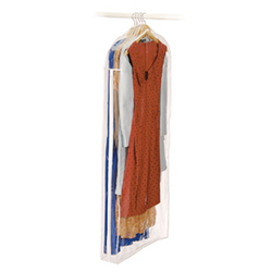 Has a zippered front that will protect your clothes from dust, pests and moisture. The dress bag hands on a closet rod with its sturdy steel frame and hooks.
