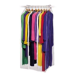 Vinyl plastic garment bag for coats, dresses, or suits.