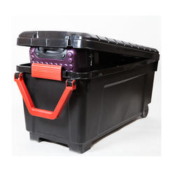 This has a pull handle feature that allows this very large tote to become easily mobile. Built in wheels.