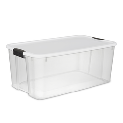 Features durable latches that attach the lid securely to the base to ensure that contents remain secure when stored. The see-through base allows contents to be easily identified.
