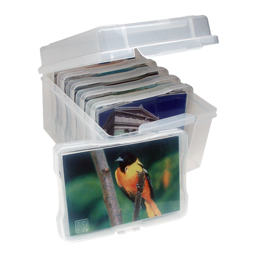 Small. These picture keepers are stackable and feature an in-molded handle for easy portability.