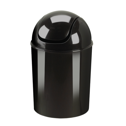 The top swings back and forth for easy use and the entire lid removes for convenient dumping.