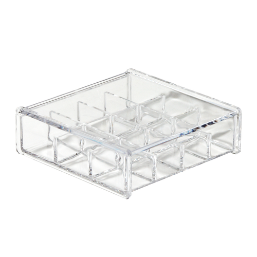 12 slot acrylic jewelry box. Features a lid that keeps items dust-free.