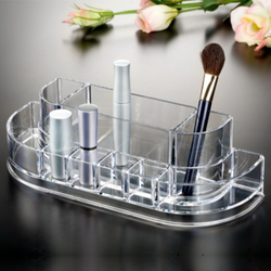 Curved Acrylic Cosmetic Organizer is clear for easy identification of items.