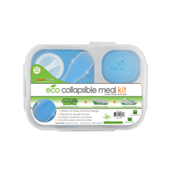 Collapsible lunch kid made from food grade silicone and biodegradable Eco Plastic. Blue.