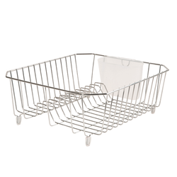 The steel wire dish rack has a rust resistant coating and rubber feet to prevent skidding. It has a removable cup for your utensils.