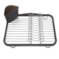 Placed at the bottom of the kitchen sink to drip-dry dishes and utensils. Features repositionable, removable utensil basket and non-slip rubber feet so it won't scratch the sink surface.