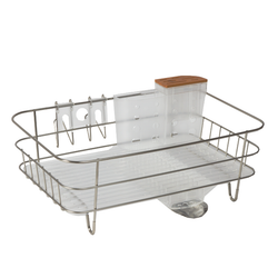 Its integrated wit ha drip tray with a removable stainless steel spout that drains water directly into the sink. The durable stainless steel and ABS plastic construction is corrosion resistant and easy to clean.
