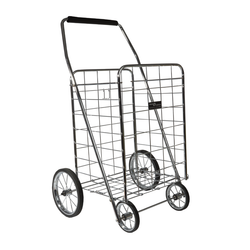 Made from chrome coated stainless steel. It features 4 casters and a handle for easy mobility. Sustains up to 100 pounds.