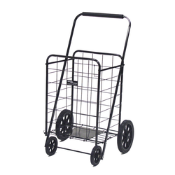 This shopping cart is made from heavy duty steel that has 4 gliding wheels for transportation. It's sturdy structure can sustain 250 lbs.