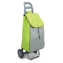 Green Simple Shopper. Features heavy duty wheels for easy mobility.