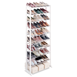 This sturdy organizer is constructed from a steel and polymer frame. Each shelf can accommodate three pairs of shoes or shoe boxes. The shelving unit is free standing.