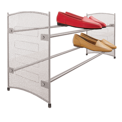 "This shelf expands from 23"" up to 43"". It features durable epoxy coated steel construction and a wide base design to keep the rack stable even on thick carpets."