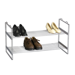 Made from heavy-duty chromed steel. They are stackable. The chromed rods allow air circulation for the shoes.