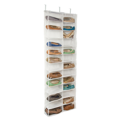 -4 heavy duty hooks for sturdy support -Shoe organizer hangs over your door -26 compartments provide ample storage -Durable polyester construction