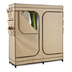 Wardrobe covered in breathable fabric to help circulate air through clothes. Two pull-out drawers for stage. The frame is rustproof.