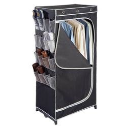 Slim black covered wardrobe. 8 pair mesh shoe component. Mesh material helps the shoes air out. It is made out of water resistant material.