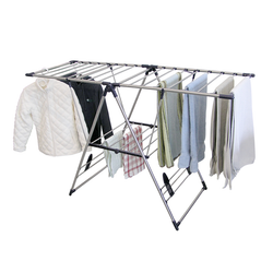 Made from strong durable stainless steel. Easy to set up and take down. Drying rack can fold so it can easily be stored. No hardware required for assembly.