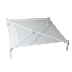 Made from breathable mesh fabric and plastic frame. Easily stacks with others. Dryer is foldable and includes a hanging hook for additional storage.