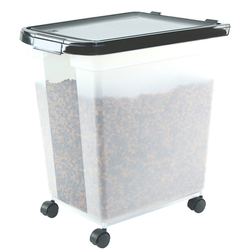 Container is transparent to it is easier to monitor food levels. Includes casters for easily mobility.