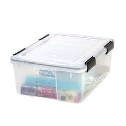Weathertight seal protects items from moisture, dust and pests. The weathertight box features four extra-durable latches that keep the lid securely attached. The boxes are stackable.