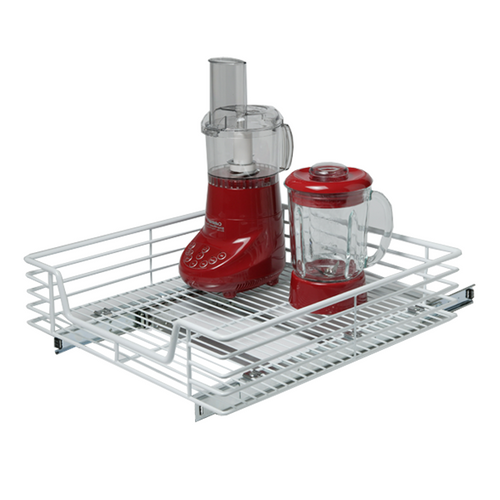 The baskets easily slide out. Use it to organize cleaning supplies, containers, oils, or cooking supplies. Hardware included and easy to install.