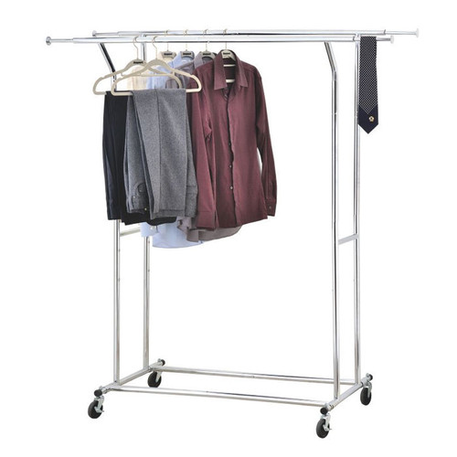 Extending clothes hanger made from chrome plated metal.