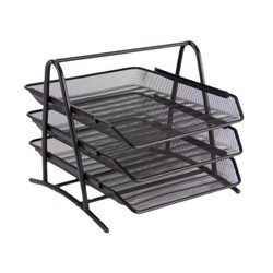 Office Stacker 3 Trays Black