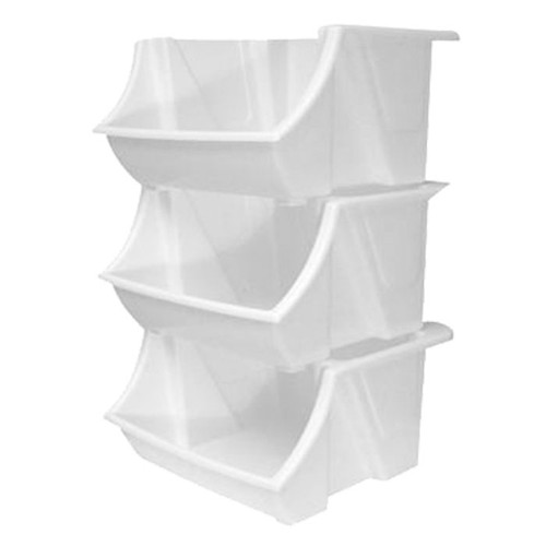 Stackable white bins. Has an open face for easy access and identification of contents.