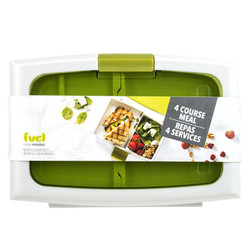 Green Full Bento Box Green. Features 4 compartments.