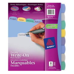 Avery write on 8 tab divider. Made from translucent plastic.