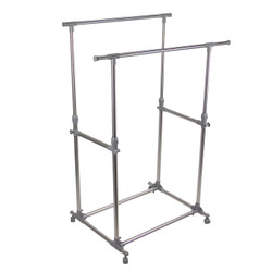 "Double garment Rack Stainless Steel. The rack is adjustable vertically 39.5"" to 65"" and expandable horizontally 34.25"" to 59""."