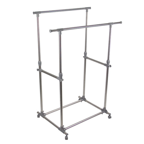 """Double garment Rack Stainless Steel. The rack is adjustable vertically 39.5"""" to 65"""" and expandable horizontally 34.25"""" to 59""""."""