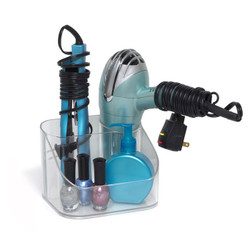 Contour Hair Care Caddy features multiple compartments that allow storage for bathroom essentials.