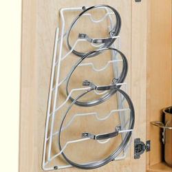 Cabinet Door Lid Rack in White mounted on a cabinet door