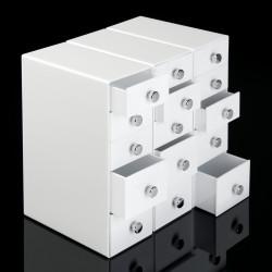 5 Drawer Desk Organizer in White shown with 3 units