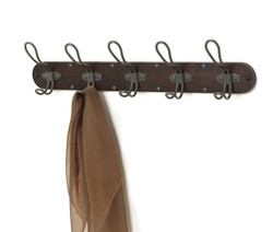 MILLBROOK WALL MOUNT 5-HOOK WOOD RACK
