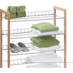 4 Tier Wood & Metal Shoe Shelf