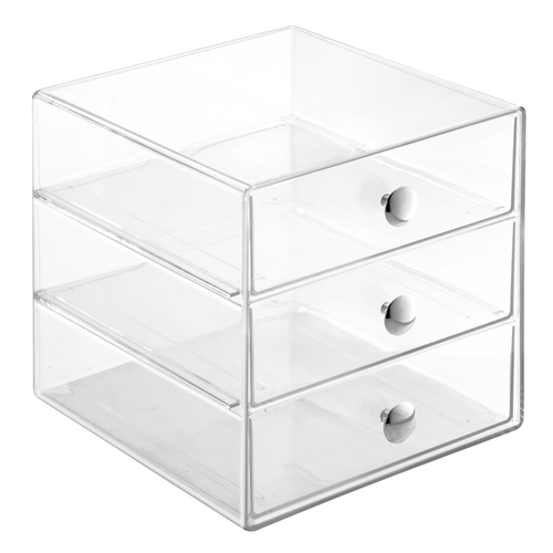 3-drawer cube. Sleek with streamlined design with contemporary chrome knobs for easy access. Clear to help identify objects.