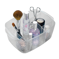 Made from clear acrylic for easy identification. Multiple compartment for cosmetics.
