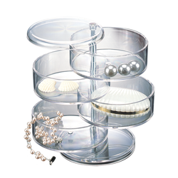 This acrylic organizer has 4 levels that are accessible from any angle. Clear for easy identification and so you can display jewelry.