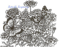 3 Butterfly Marigolds Wood Mounted Rubber Stamp Northwoods Rubber Stamp New
