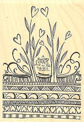 A Friend Loves, Wood Mounted Rubber Stamp IMPRESSION OBSESSION - NEW, J15074