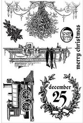 A VICTORIAN CHRISTMAS SET 7 Cling Unmounted Rubber Stamp Set Prima 582357 New