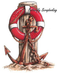 Anchor Beach Scene Stamp Cling Unmounted Rubber Stamp C.C. Designs JD1001 New