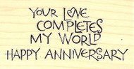 Anniversary Text, Wood Mounted Rubber Stamp IMPRESSION OBSESSION - NEW, C15063
