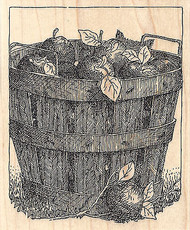 Apple Barrel Wood Mounted Rubber Stamp IMPRESSION OBSESSION Orchard Apples New